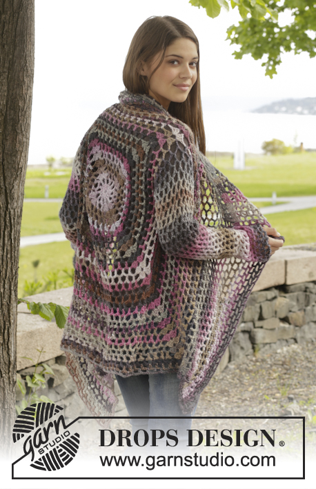"Around the World / DROPS 156-42 - Crochet DROPS jacket with lace pattern in ""Big Delight"". Size: S - XXXL"