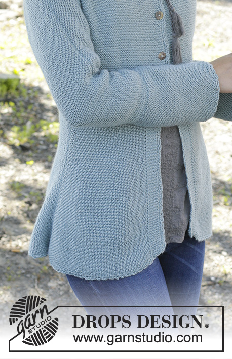 "Clear Water / DROPS 156-43 - Gebreid DROPS vest in ribbelst van ""BabyAlpaca Silk"".