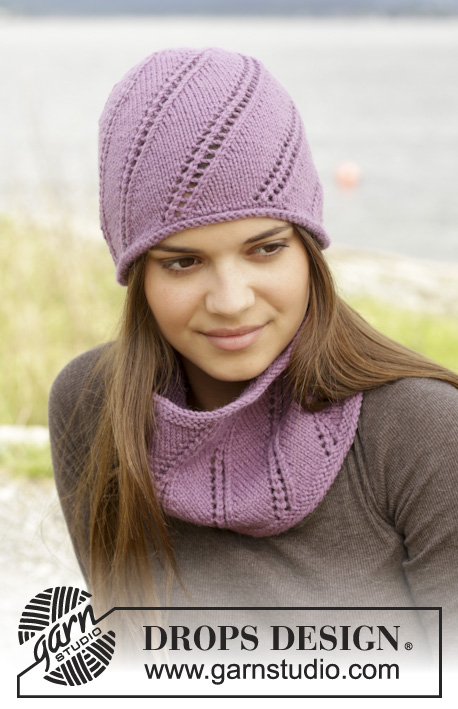 "Ludmila / DROPS 156-46 - Knitted DROPS neck warmer and hat with lace pattern in ""Lima""."