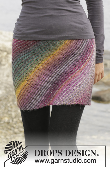 Late Summer Night's Dream / DROPS 156-7 - Knitted DROPS skirt in garter st with short rows in Delight. Size S-XXXL.