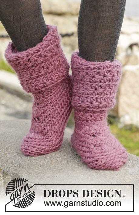 "Sweet Spirited / DROPS 156-9 - Crochet DROPS slippers with star pattern in ""Eskimo""."