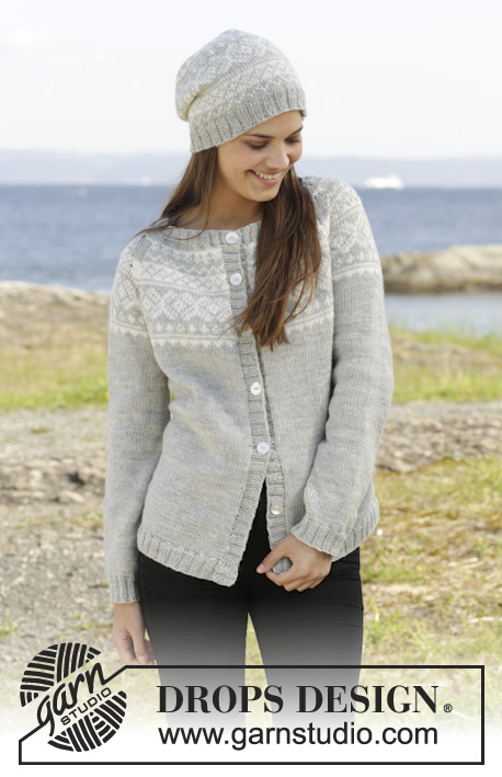 "Silver Dream Cardigan / DROPS 157-1 - Knitted DROPS jacket and hat with Norwegian pattern, worked top down in ""Karisma"". Size: S - XXXL."