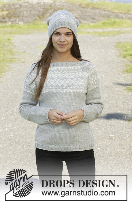 "Silver Dream / DROPS 157-2 - Knitted DROPS jumper and hat with Norwegian pattern in ""Karisma"". Size: S - XXXL."