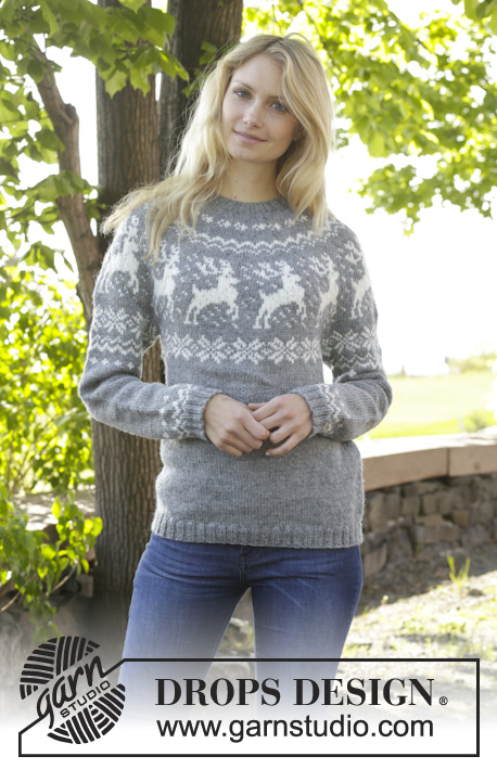 "Silver Stag / DROPS 157-23 - Knitted DROPS jumper with round yoke, reindeer pattern, worked top down in ""Karisma"". Size: S - XXXL."