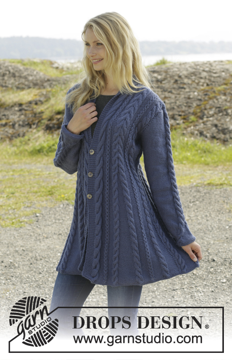 "Morning Glory / DROPS 158-1 - Knitted DROPS jacket with cables and shawl collar in ""Karisma"". Size: S - XXXL."