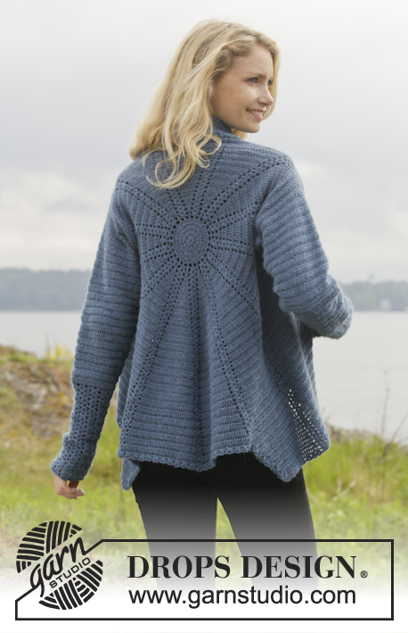 Winter Solstice / DROPS 158-10 - Crochet DROPS jacket worked in a circle in Alpaca. Size: S - XXXL.