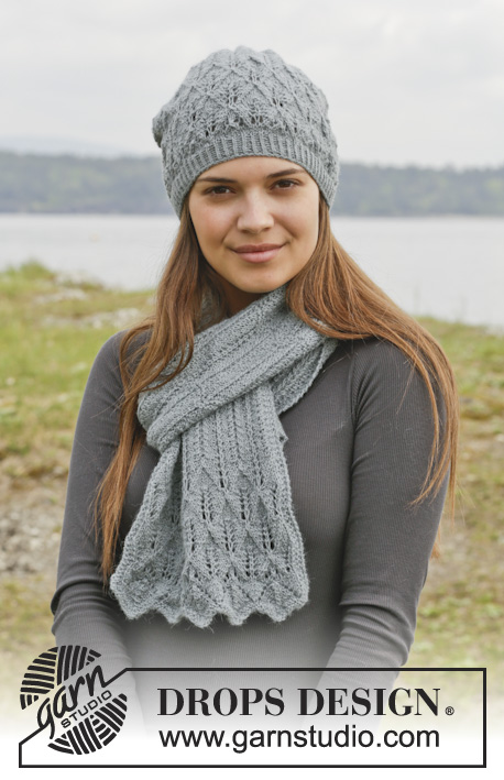 "Lake District / DROPS 158-21 - Knitted DROPS hat and scarf with lace pattern in ""Alpaca""."