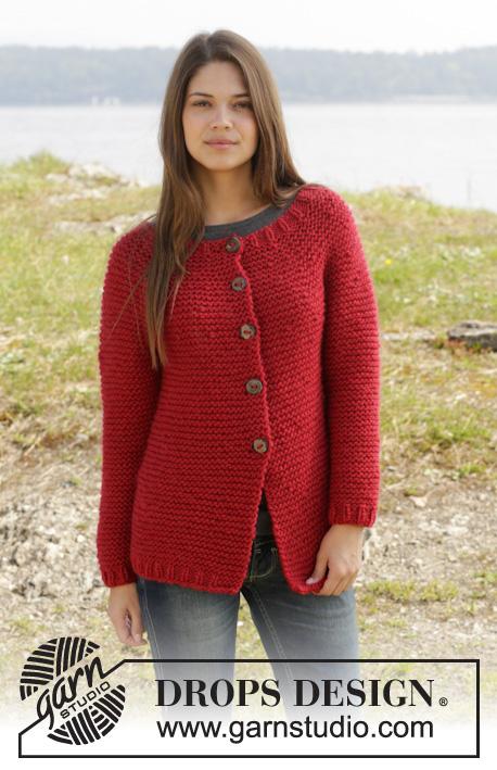 Ruby My Dear / DROPS 158-27 - DROPS kabátek s kruhovým sedlem pletený vroubkovým vzorem z příze Andes. Velikost: S-XXXL.