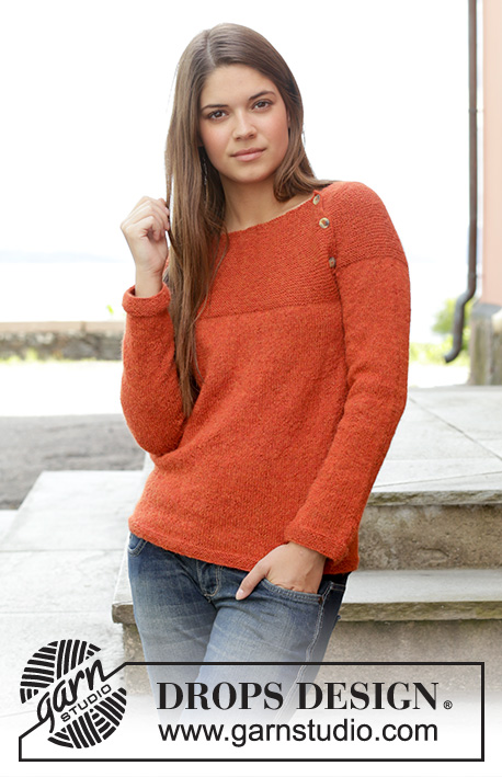 Take It Easy / DROPS 158-3 - Knitted DROPS jumper in garter st with round yoke, worked top down in Alpaca. Size: S - XXXL.