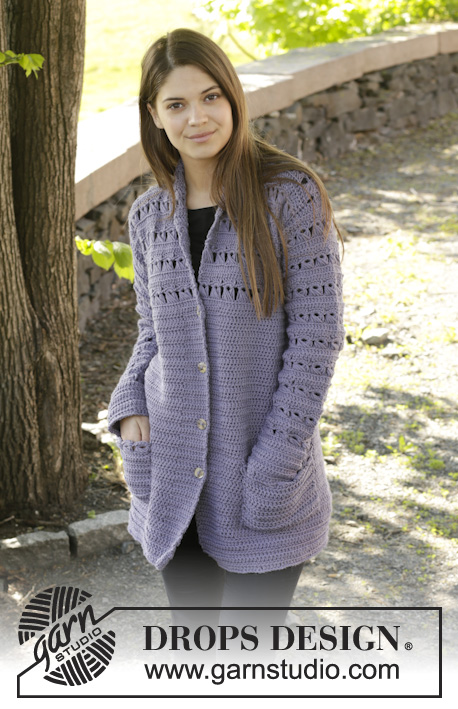 "Lavender Touch Cardigan / DROPS 158-38 - Crochet DROPS jacket with broomstick lace in ""Nepal"". Size: S - XXXL."