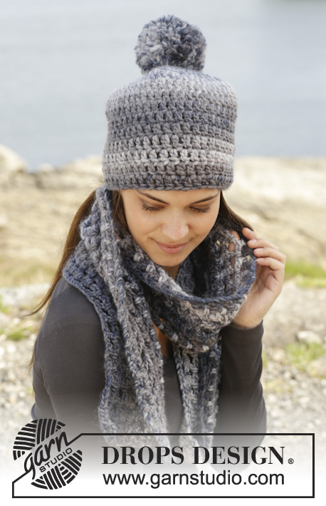 "Camilla / DROPS 158-40 - Crochet DROPS hat and scarf with trebles and lace pattern in ""Eskimo""."