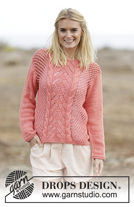 "Sweet Peach / DROPS 159-16 - Knitted DROPS jumper with lace pattern and cables in ""Paris"". Size: S - XXXL."