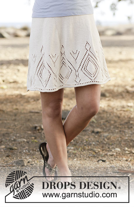 """White Diamond / DROPS 159-18 - Knitted DROPS skirt with lace pattern in """"Muskat"""". Worked top down. Size: S - XXXL."""
