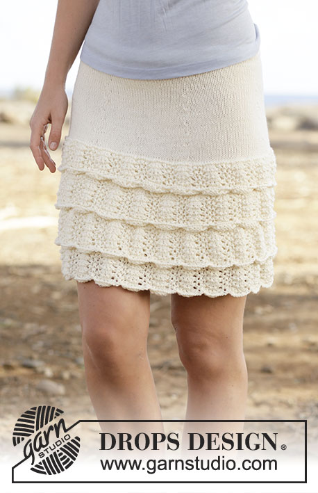 """Summer Dance / DROPS 159-19 - Knitted DROPS skirt with flounce in wave pattern in """"Cotton Merino"""". Size S-XXXL."""