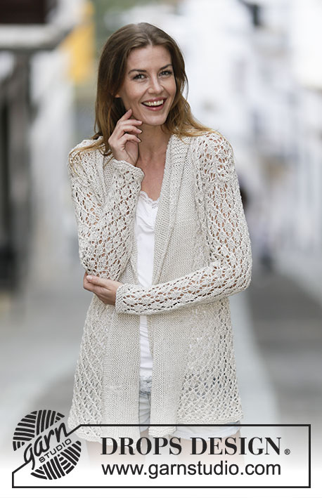 Lace Affair / DROPS 159-2 - Knitted DROPS jacket with lace pattern and shawl collar in Bomull-Lin or Paris. Size: S - XXXL.