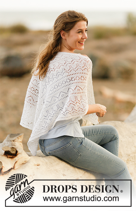 "Ethereal Bliss / DROPS 159-31 - Knitted DROPS shawl with lace pattern in ""BabyAlpaca Silk""."