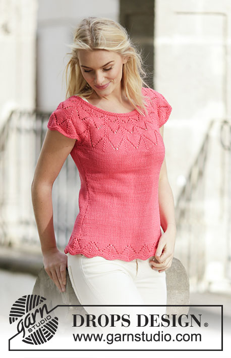 "Call It Spring / DROPS 159-4 - Knitted DROPS top in stocking st with lace pattern and round yoke in ""Muskat"". Size: S - XXXL."