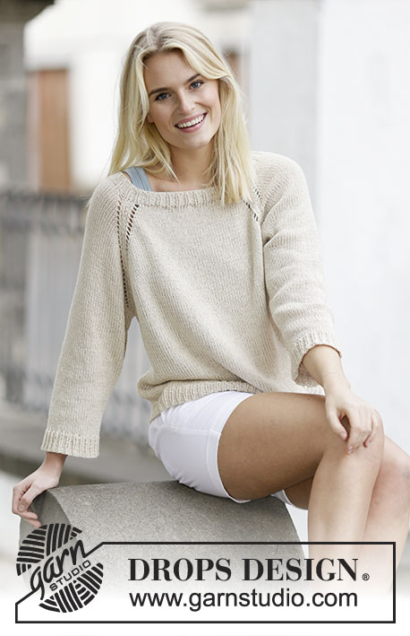 Sandy Shore / DROPS 159-9 - Knitted DROPS jumper with raglan in Cotton Light or Belle. Worked top down. Size: S - XXXL.