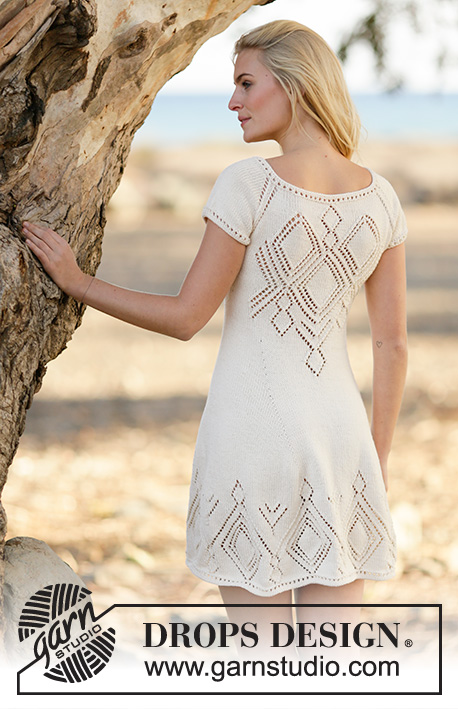 "Summer Feeling / DROPS 160-1 - Knitted DROPS dress with lace pattern and raglan in ""Muskat"" or Belle. Worked top down. Size: S - XXXL."