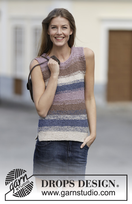 "Downtown / DROPS 160-11 - Knitted DROPS top in garter st in 2 strands ""Cotton Viscose"". Size: S - XXXL."