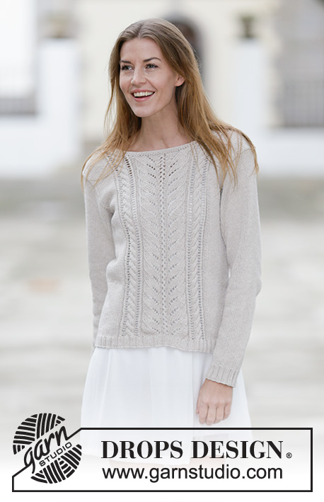 "Darling / DROPS 160-17 - Knitted DROPS jumper with lace pattern and cables in ""Cotton Light"" or Belle. Size: S - XXXL."
