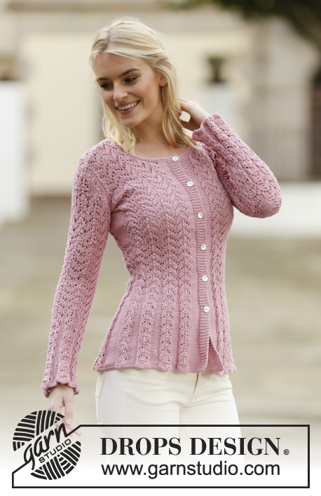Love Is In The Air Cardigan / DROPS 160-2 - Strikket DROPS jakke i Muskat eller Belle med hulmønster. Str S - XXXL.