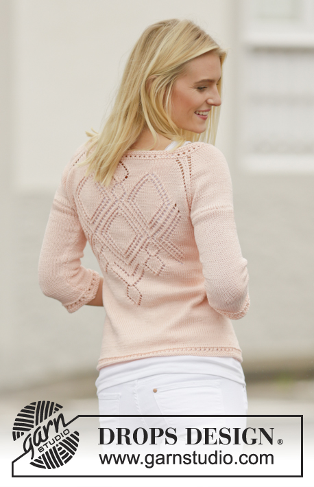 "Peach Macaroon / DROPS 160-23 - Knitted DROPS jacket with lace pattern and raglan in ""Muskat"". Worked top down. Size: S - XXXL."