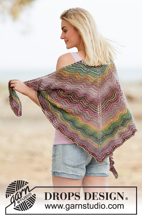 "Delightful Waves / DROPS 160-30 - Knitted DROPS shawl with wave pattern and stripes in ""Delight""."