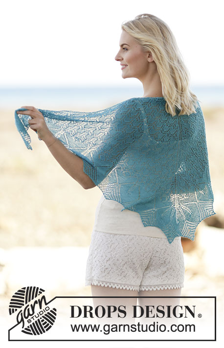 Le Marais / DROPS 161-12 - Knitted DROPS shawl with lace and leaf pattern in Lace or Alpaca.