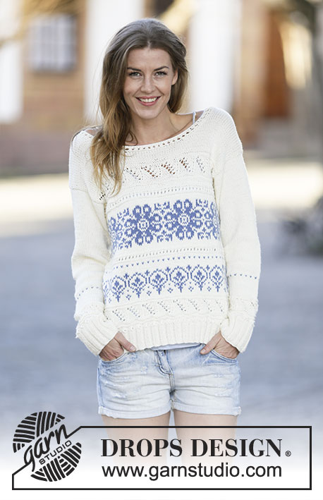 "Delphos / DROPS 161-24 - Knitted DROPS jumper with pattern borders in ""Cotton Merino"". Size XS/S - XXXL."