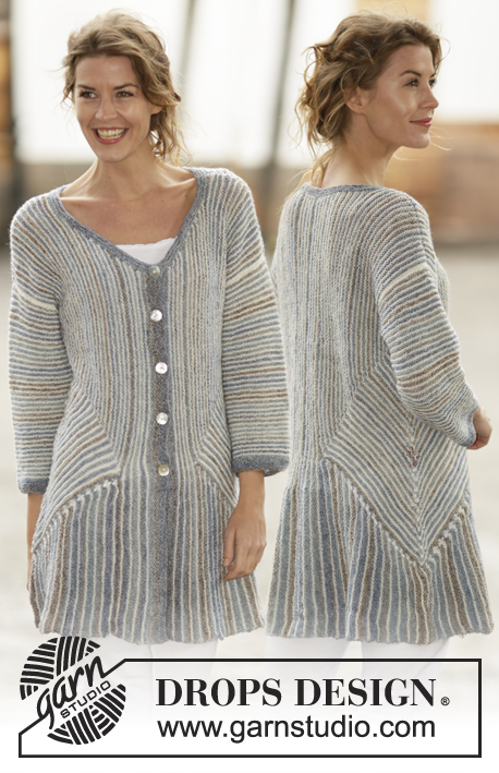 "Lady Grey / DROPS 161-25 - Knitted DROPS jacket in ""Fabel"" with stripes, garter stitch and domino squares. Sizes S - XXXL."