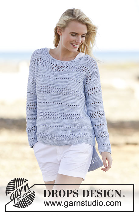 "Morning Breeze / DROPS 161-29 - Knitted DROPS jumper in garter st with lace pattern in ""Paris"". Size: S - XXXL."