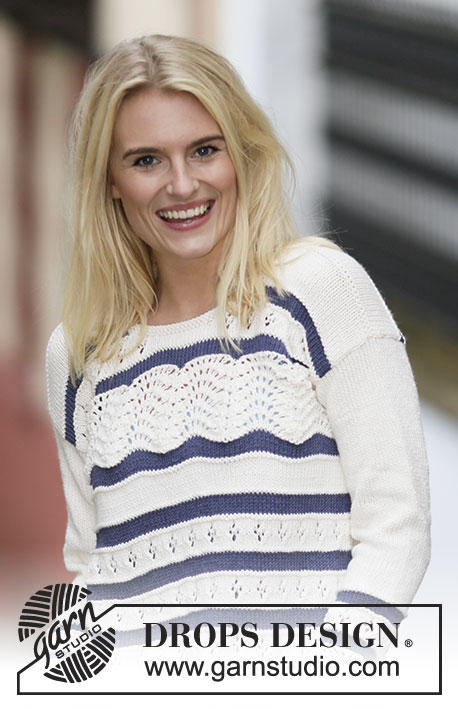 "Nautical Waves / DROPS 161-31 - Knitted DROPS jumper with lace pattern and stripes in ""Cotton Light"". Size: S - XXXL."