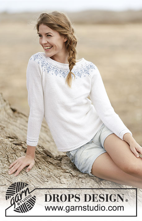 "Nordic Summer / DROPS 161-33 - Knitted DROPS jumper with raglan and round yoke in ""BabyMerino"". Size: S - XXXL."