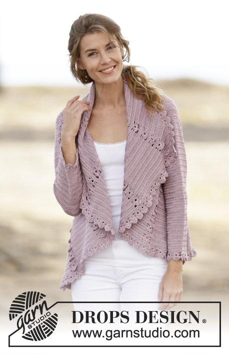 "Ros / DROPS 162-11 - Crochet DROPS jacket worked in a circle with lace pattern in ""Cotton Viscose"". Size: S - XXXL."