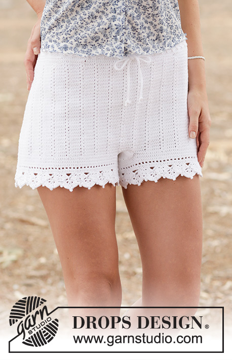 "Elly May / DROPS 162-19 - Crochet DROPS shorts with double crochet and lace pattern in ""Safran"". Size: S - XXL."