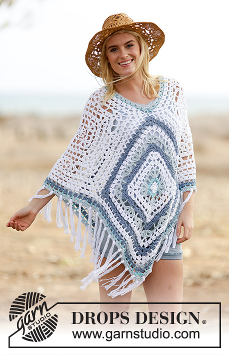 Bohemian Blues / DROPS 162-2 - Crochet DROPS poncho in Paris. One-size