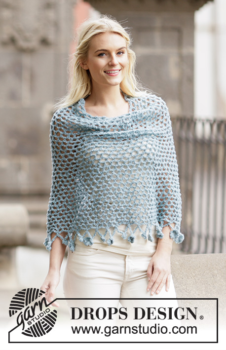 "Aira / DROPS 162-24 - Crochet DROPS poncho with flower edge, worked top down in ""Alpaca Bouclé"".