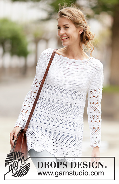 "Lacey Days Jumper / DROPS 162-27 - Crochet DROPS jumper with lace pattern and round yoke, worked top down in ""Cotton Light"". Size: S - XXXL."