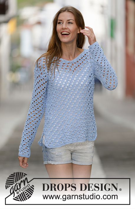 "Just Me / DROPS 162-3 - Crochet DROPS jumper with lace pattern in ""Cotton Light"". Size: S - XXXL."