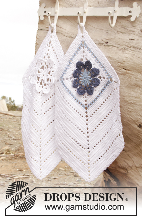 "Granny's Favorites / DROPS 162-36 - Crochet DROPS towel with flower squares in ""Cotton Light""."
