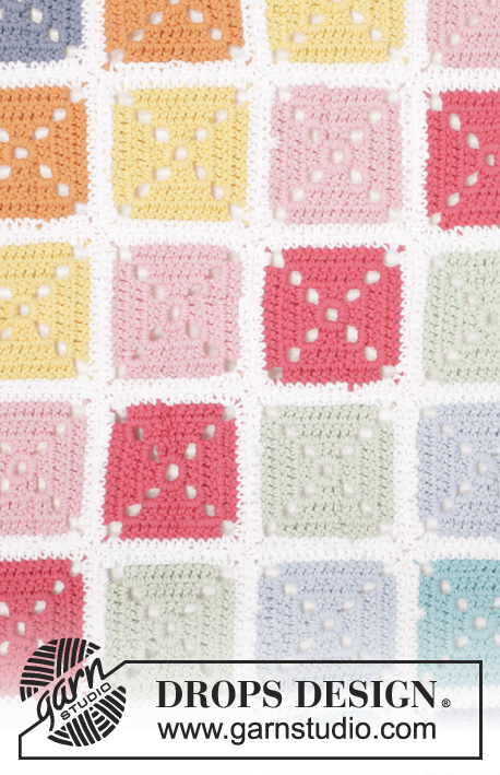 "Too Much Fun / DROPS 162-4 - Crochet DROPS blanket with squares in ""Paris""."