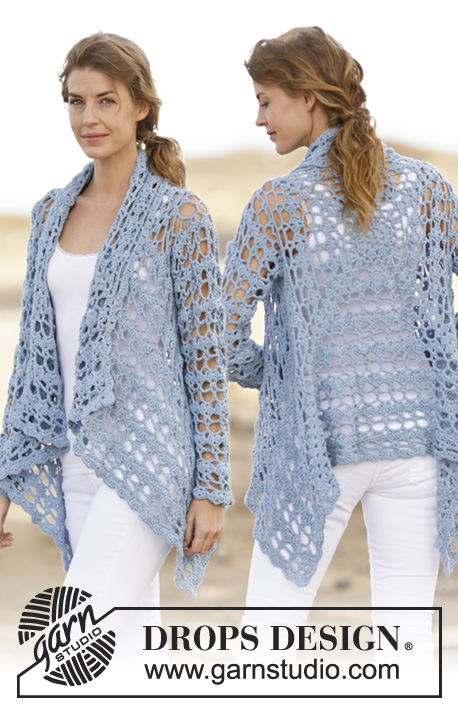 "Spring Bliss / DROPS 162-5 - Crochet DROPS jacket with lace pattern in ""Paris"". Size: S - XXXL."