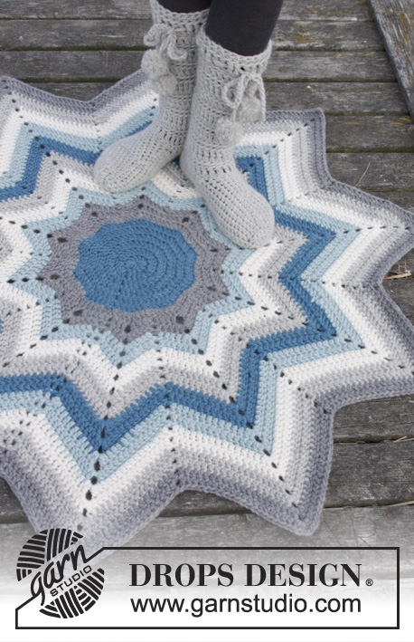 Pole Star / DROPS 163-12 - Crochet DROPS rug with stripes and zig-zag pattern in Eskimo.