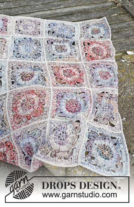 "Winter Garden / DROPS 163-3 - Crochet DROPS blanket with crochet squares in 3 strands ""Fabel""."