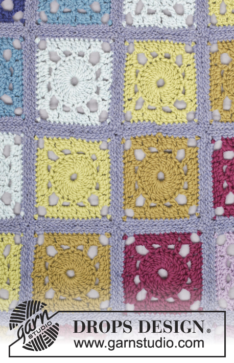 "Cool Summer Evening / DROPS 163-4 - Crochet DROPS blanket with squares in ""Eskimo""."