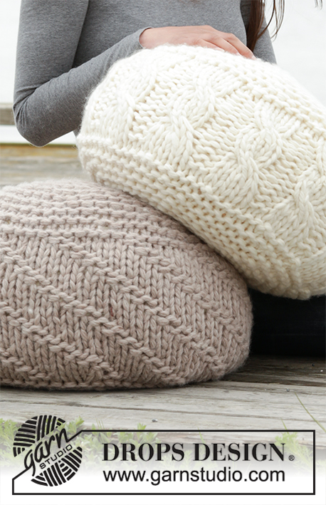 "Let's Relax / DROPS 163-6 - Knitted DROPS pouffe in garter st with cables or purl stitches in 4 strands ""Eskimo"". Can also be worked in 2 strand Polaris."