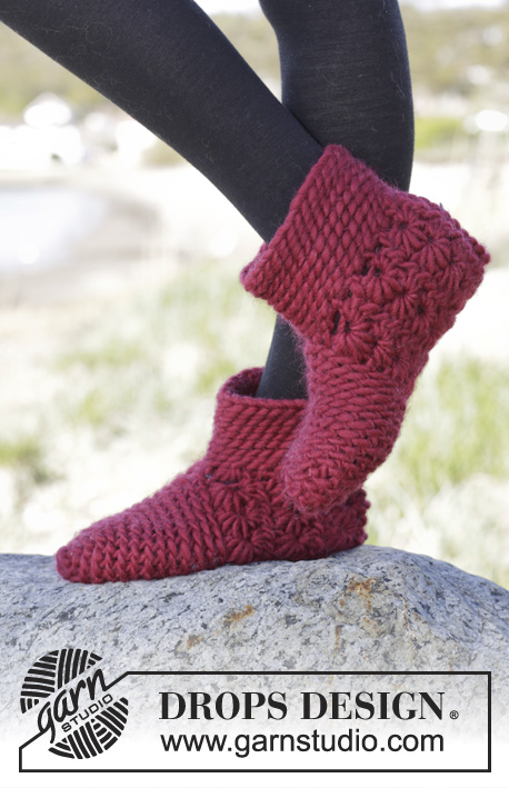 Crochet Patterns Free Drops : Chasse / DROPS 164-11 - Crochet DROPS slippers with star ...