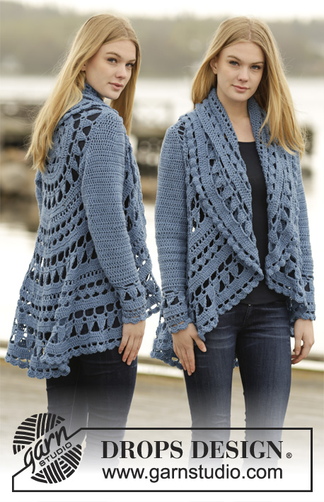 Sea Glass / DROPS 164-16 - Crochet jacket worked in a circle with lace pattern in DROPS Merino Extra Fine or DROPS Sky. Size: S - XXXL.