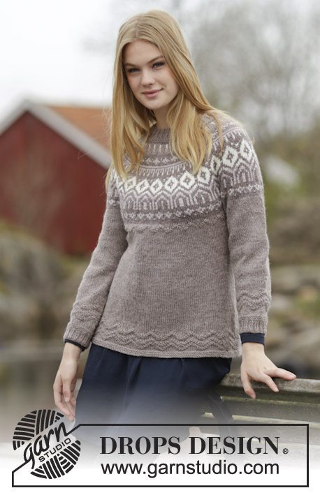 "English Afternoon / DROPS 164-23 - Knitted DROPS fitted jumper with round yoke, Nordic pattern and purl stitches, worked top down in ""Karisma"". Size: S - XXXL."